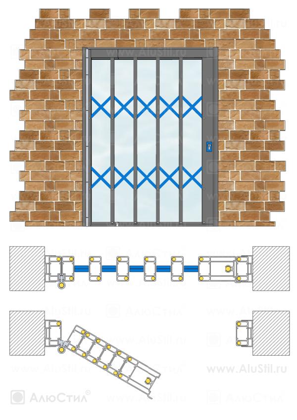 Встроенный монтаж односторонней решетки с поворотным устройством