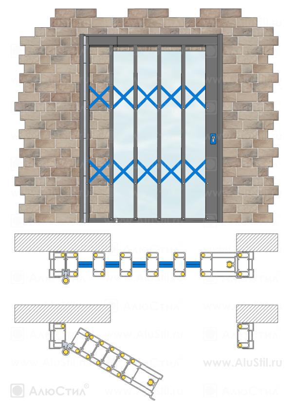 Накладной монтаж односторонней раздвижной решетки с поворотным устройством и подъёмным порогом