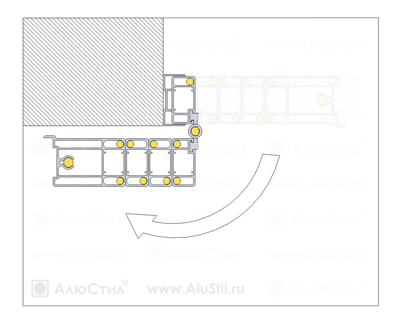 Армированная раздвижная решётка с поворотом створки в разрезе