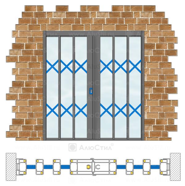 Раздвижная армированная решетка устанавливается в проем и занимает около 18% пространства проема в сложенном состоянии